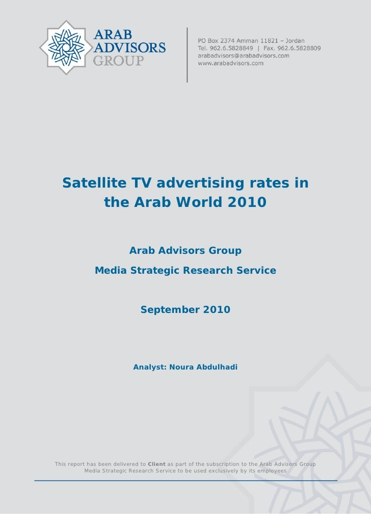 Satellite TV advertising rates in          the Arab World 2010                              ...
