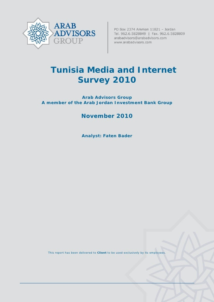 Tunisia Media and Internet Survey 2010 - TABLE OF CONTENTS