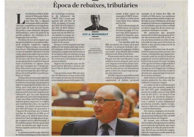 Ara Balears: rebaixes tributàries