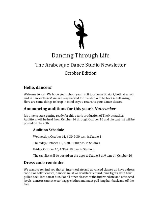 Sample Email Newsletter Content For Arabesque Dance Studio