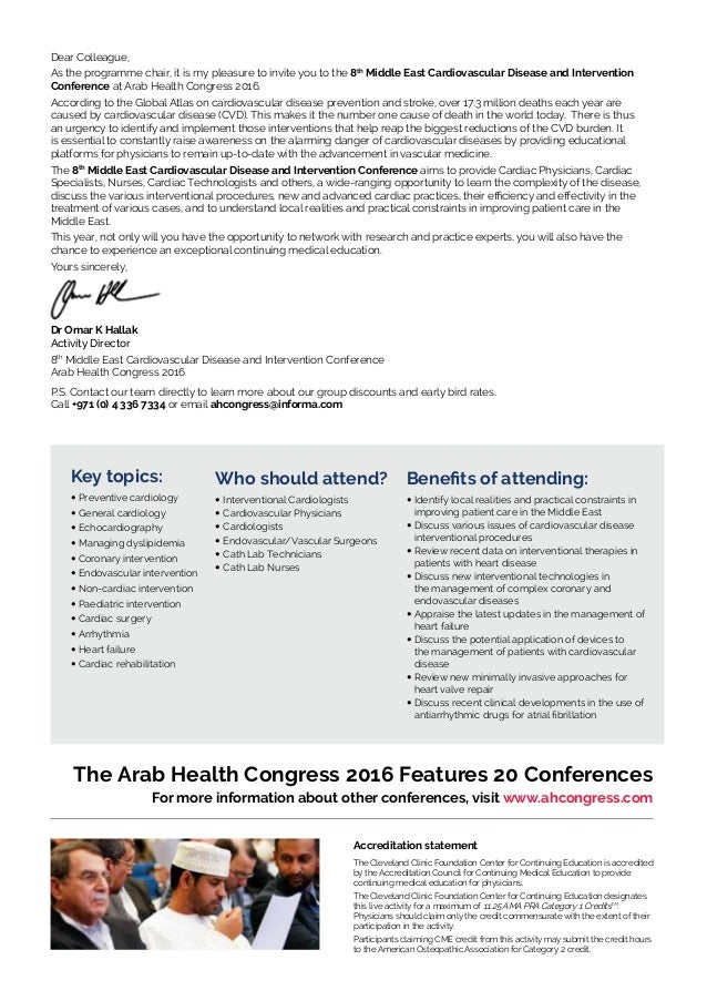 Arab health congress 2016 - Cardiovascular Conference brochure