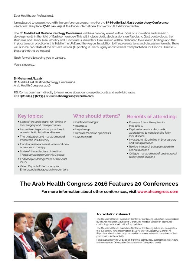 Arab Health Congress 2016 - Gastroenterology Conference