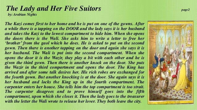 The Lady and Her Five Suitors, from The Thousand and One Nights