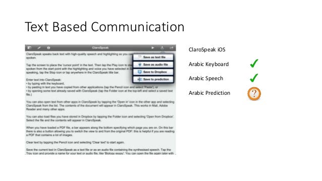 AAC systems for Arabic Speakers