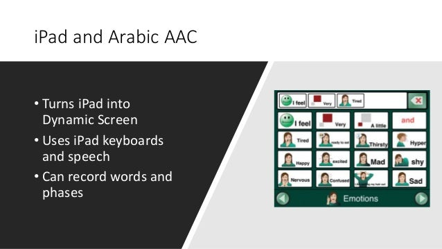 iPad and Arabic AAC • Turns iPad into Dynamic Screen • Uses iPad keyboards and speech • Can record words and phases