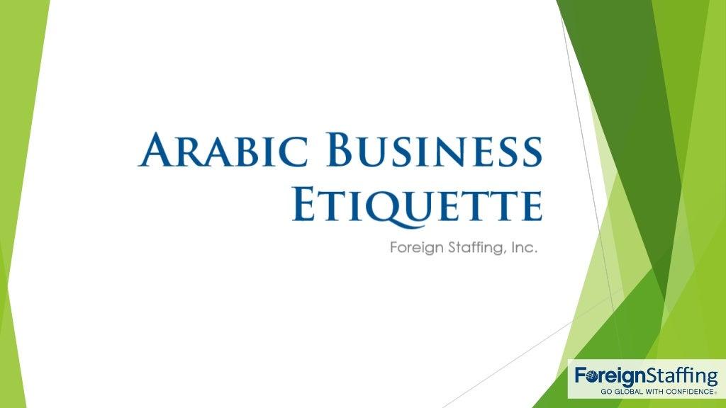 Arabic Business Etiquette