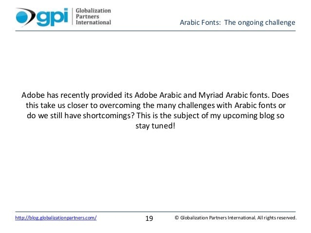 Arabic Fonts: The ongoing challenge