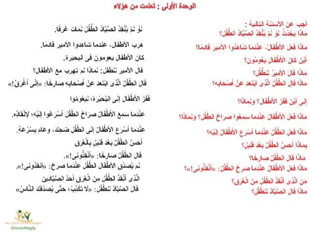 كراسة المراجعة النهائية فى اللغة العربية للصف الثانى الابتدائى للترم الثانىArabic g2 t2 final rev Slide 2