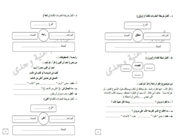 نماذج امتحانات استرشادية فى اللغة العربية للصف الرابع الابتدائى آخر العام بعد الحذف 2016 Arabic g4 2016 t2 omniawagdy Slide 2