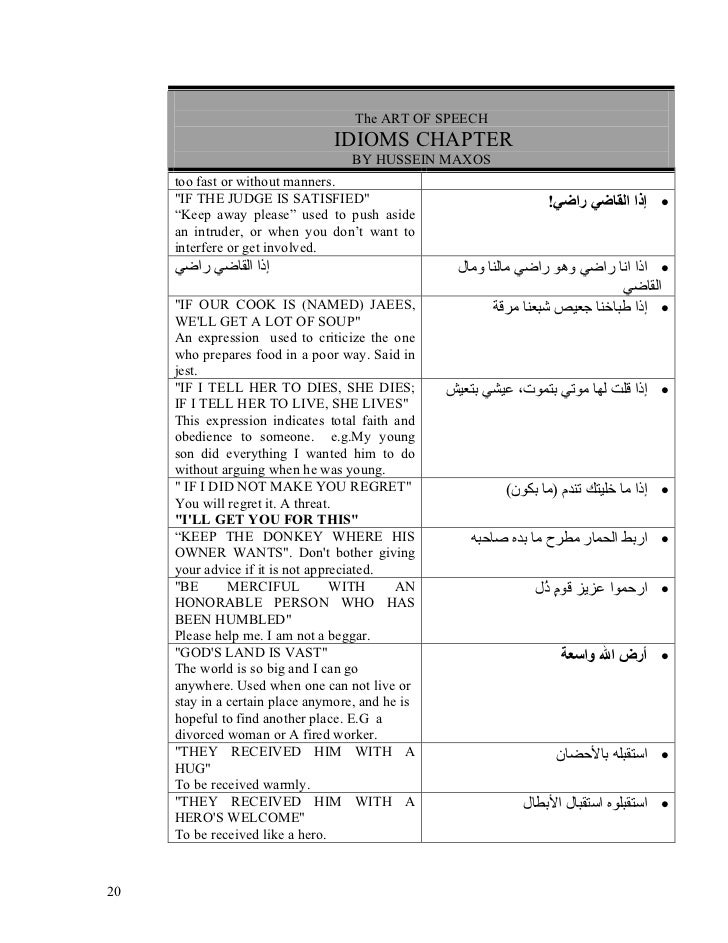 Arabic Idioms Lane 424