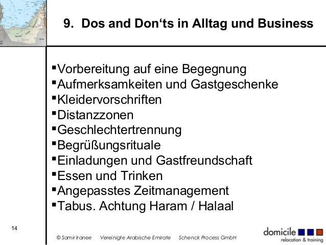 9. Dos and Don'ts in Alltag und Business Vorbereitung auf eine Begegnung Aufmerksamkeiten und Gastgeschenke Kleidervors...