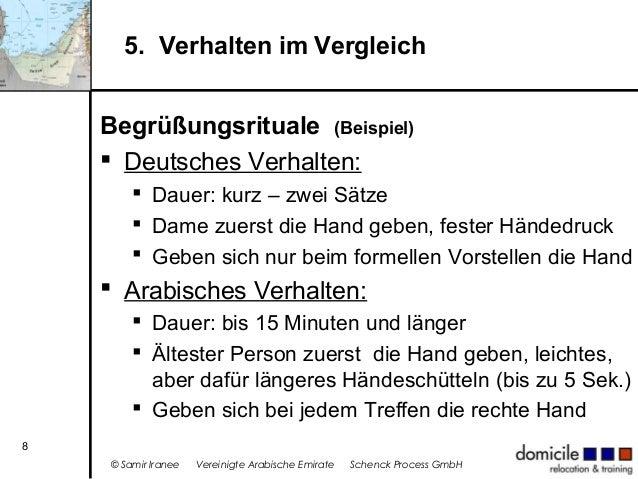 5. Verhalten im Vergleich Begrüßungsrituale (Beispiel)  Deutsches Verhalten:  Dauer: kurz – zwei Sätze  Dame zuerst die...