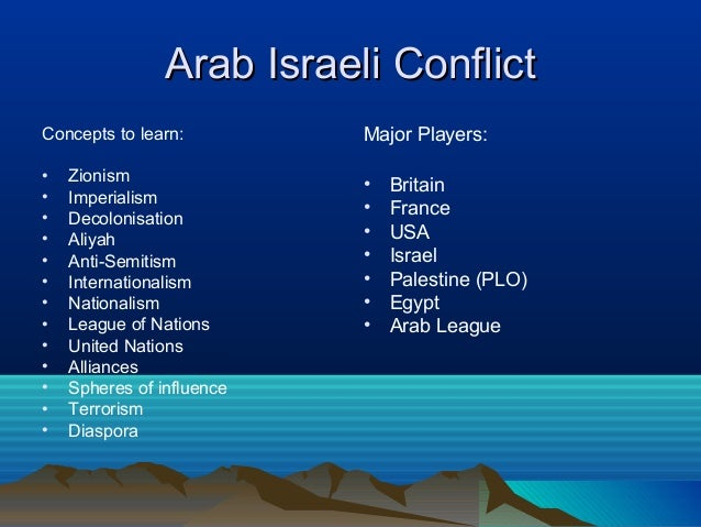 israel arabs conflict essay Nationalist and independence movements  conflict 1945–79  • how did the british withdrawal and the establishment of israel lead to war in palestine.