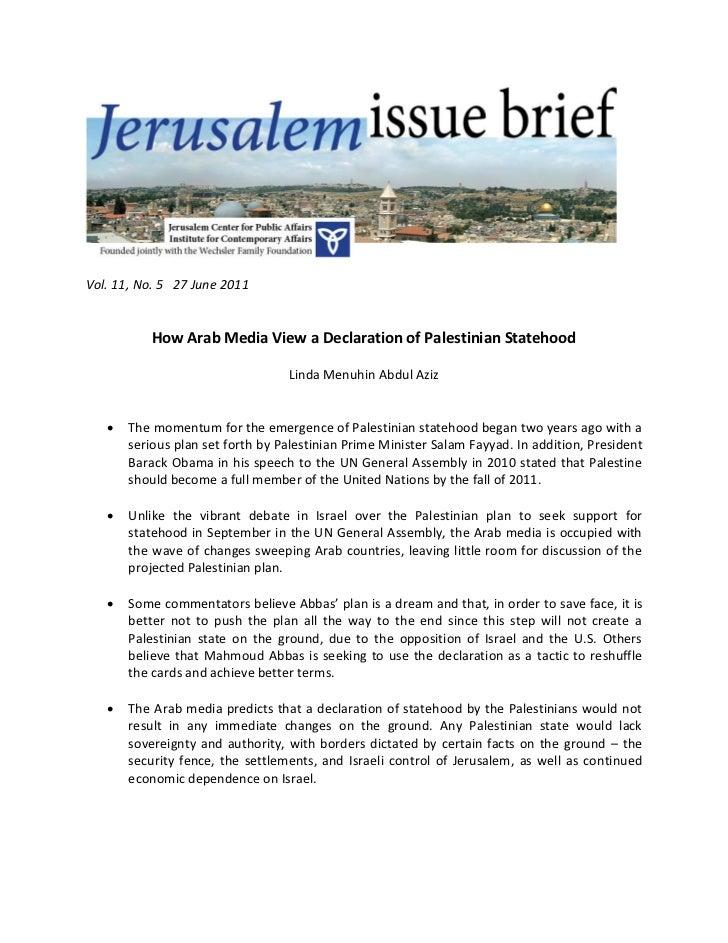 Vol. 11, No. 5 27 June 2011           How Arab Media View a Declaration of Palestinian Statehood                          ...