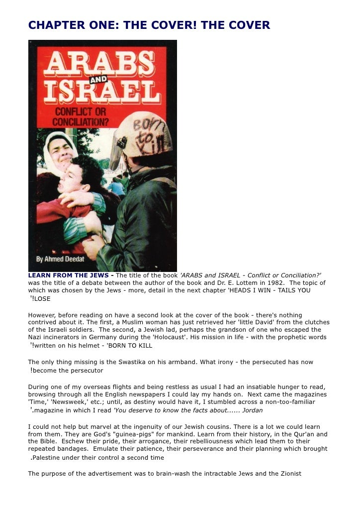 CHAPTER ONE: THE COVER! THE COVER     LEARN FROM THE JEWS - The title of the book 'ARABS and ISRAEL - Conflict or Concilia...