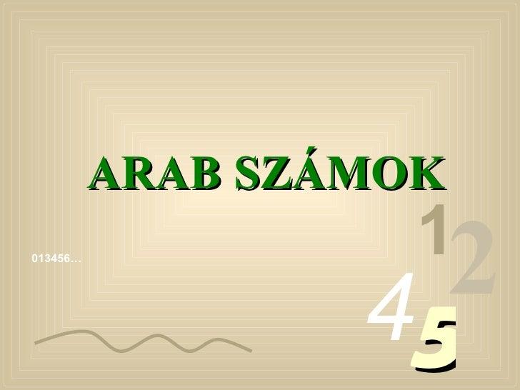 013456… 1 2 4 5 ARAB SZÁMOK