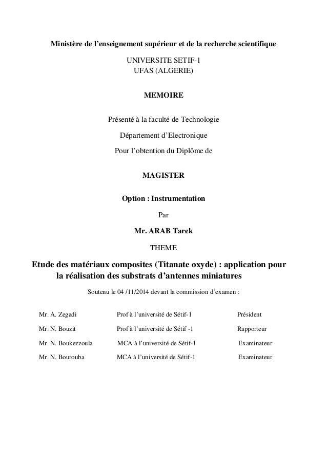 Ministère de l'enseignement supérieur et de la recherche scientifique UNIVERSITE SETIF-1 UFAS (ALGERIE) MEMOIRE Présenté à...