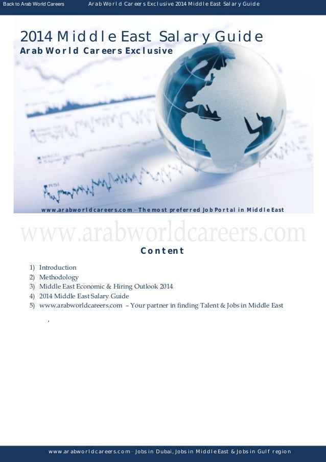 Back to Arab World Careers  Arab World Careers Exclusive 2014 Middle East Salary Guide  2014 Middle East Salary Guide Arab...