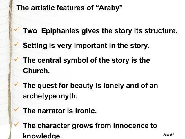 araby interpretive james joyce James joyce's 'araby' is a coming of age story that focuses on a young boy's first love in it, the young narrator believes that he experiences.
