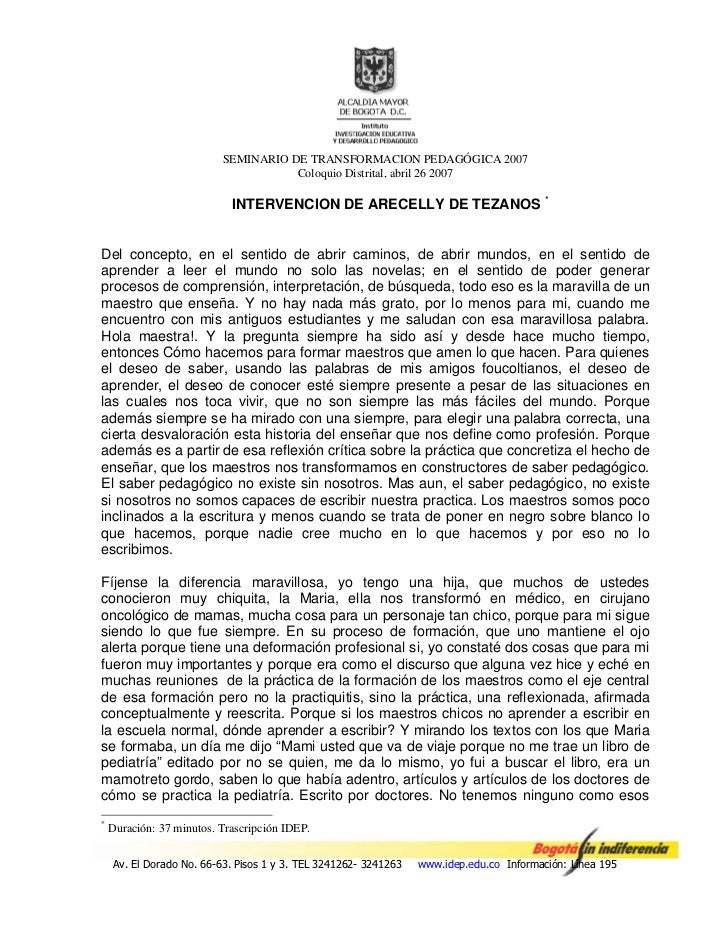 SEMINARIO DE TRANSFORMACION PEDAGÓGICA 2007                                     Coloquio Distrital, abril 26 2007         ...