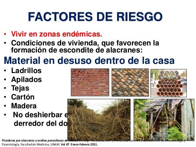 FACTORES DE RIESGO • Vivir en zonas endémicas. • Condiciones de vivienda, que favorecen la formación de escondite de alacr...