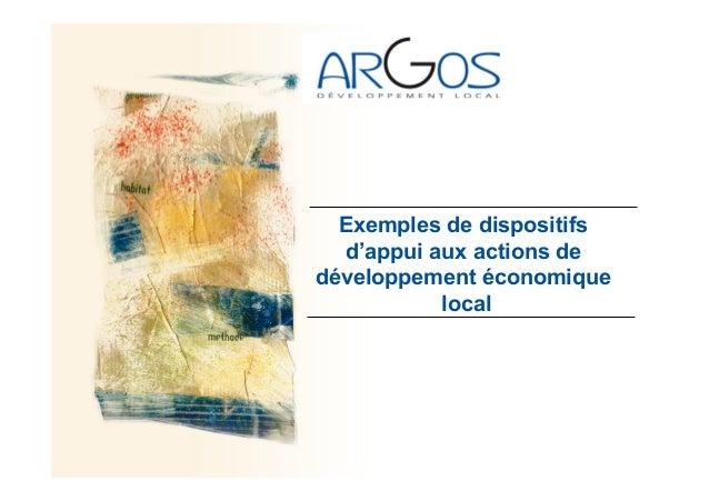 Exemples de dispositifs d'appui aux actions de développement économique local