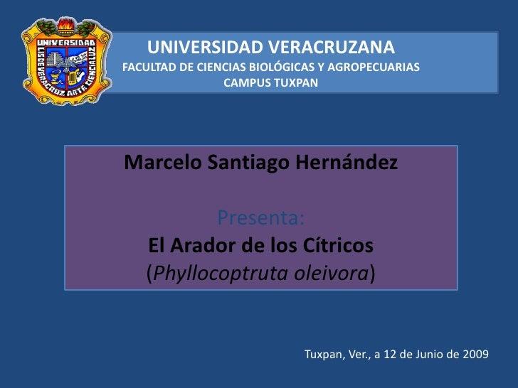 UNIVERSIDAD VERACRUZANA<br />FACULTAD DE CIENCIAS BIOLÓGICAS Y AGROPECUARIAS<br />CAMPUS TUXPAN<br />Marcelo Santiago Hern...
