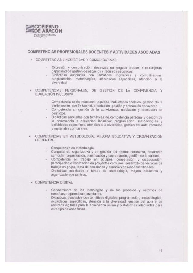 Aragón. Competencias profesionales docentes y actividades.