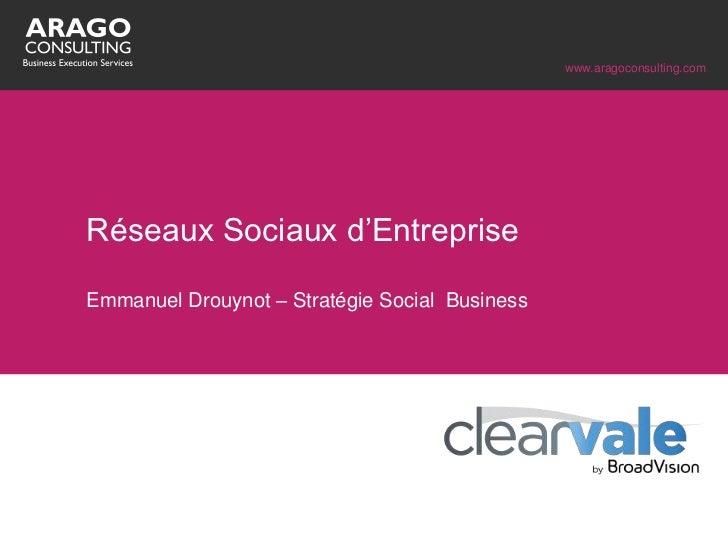 """www.aragoconsulting.comRéseaux Sociaux d""""EntrepriseEmmanuel Drouynot – Stratégie Social Business"""