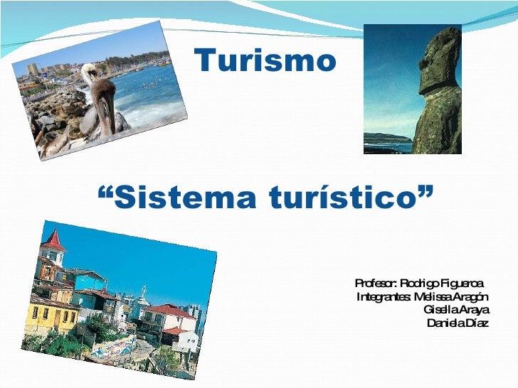 """Turismo """"Sistema turístico"""" <ul><li>Profesor: Rodrigo Figueroa  </li></ul><ul><li>Integrantes: Melissa Aragón </li></ul><u..."""