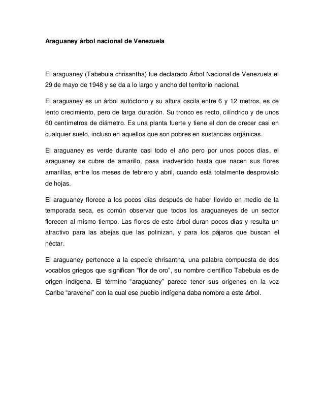 Araguaney árbol nacional de VenezuelaEl araguaney (Tabebuia chrisantha) fue declarado Árbol Nacional de Venezuela el29 de ...