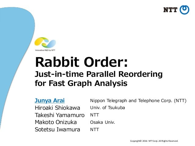 Copyright© 2016 NTT Corp. All Rights Reserved. Rabbit Order: Just-in-time Parallel Reordering for Fast Graph Analysis Juny...
