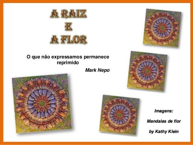 O que não expressamos permanece reprimido Mark Nepo  Imagens: Mandalas de flor by Kathy Klein