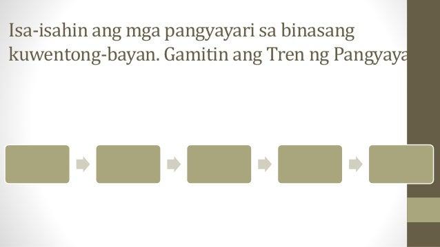 Isa-isahin ang mga pangyayari sa binasang kuwentong-bayan. Gamitin ang Tren ng Pangyayari.