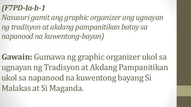 (F7PD-Ia-b-1 Nasusuri gamit ang graphic organizer ang ugnayan ng tradisyon at akdang pampanitikan batay sa napanood na kuw...