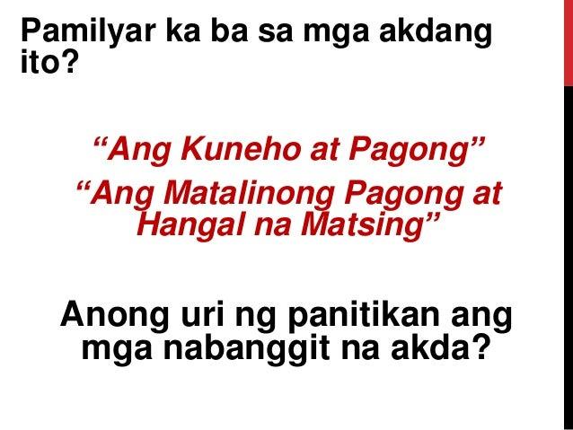 """Pamilyar ka ba sa mga akdang ito? """"Ang Kuneho at Pagong"""" """"Ang Matalinong Pagong at Hangal na Matsing"""" Anong uri ng panitik..."""