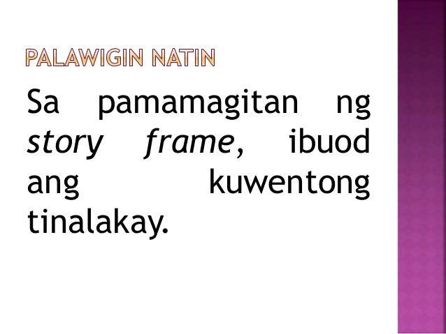 Sa pamamagitan ng story frame, ibuod ang kuwentong tinalakay.