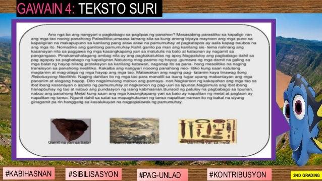 #SIBILISASYON #PAG-UNLAD #KONTRIBUSYON#KABIHASNAN 2ND GRADING GAWAIN 4: TEKSTO SURI