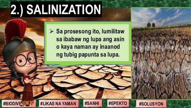 #SOLUSYON#EPEKTO#SANHI#BIODIVERSITY #LIKAS NA YAMAN 2.) SALINIZATION ➢ Sa prosesong ito, lumilitaw sa ibabaw ng lupa ang a...