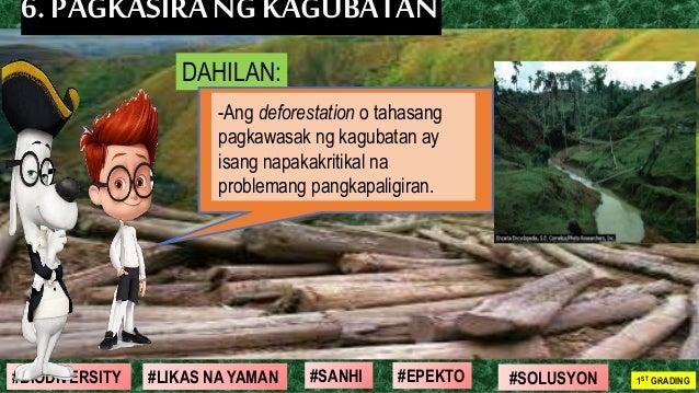 #SOLUSYON#EPEKTO#SANHI#BIODIVERSITY 1ST GRADING#LIKAS NA YAMAN 21 6. PAGKASIRANGKAGUBATAN DAHILAN: -Ang deforestation o ta...