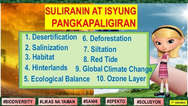 #SOLUSYON#EPEKTO#SANHI#BIODIVERSITY 1ST GRADING#LIKAS NA YAMAN SULIRANIN AT ISYUNG PANGKAPALIGIRAN 1. Desertification 2. S...