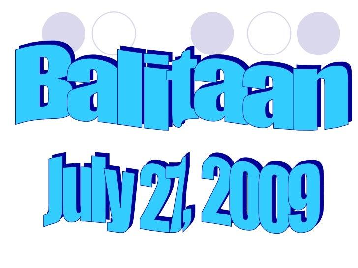 Balitaan July 27, 2009