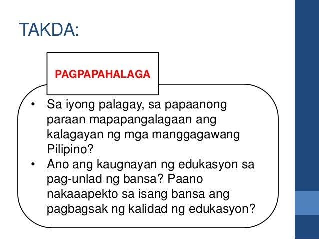 • Sa iyong palagay, sa papaanong paraan mapapangalagaan ang kalagayan ng mga manggagawang Pilipino? • Ano ang kaugnayan ng...
