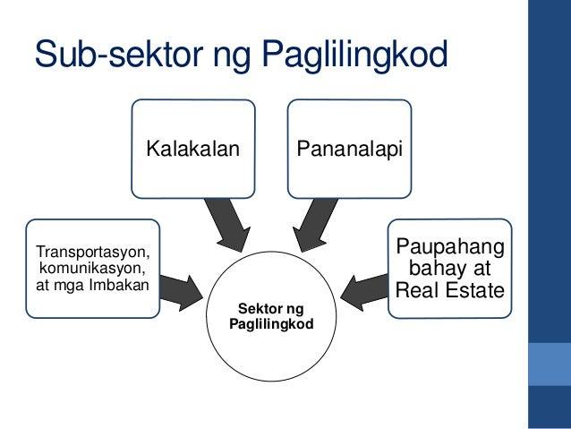 Sub-sektor ng Paglilingkod Sektor ng Paglilingkod Transportasyon, komunikasyon, at mga Imbakan Kalakalan Pananalapi Paupah...