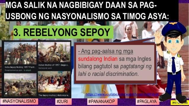 #NASYONALISMO #PAGLAYA#2URI #PANANAKOP 3RD GRADING https://www.youtube.com/watch?v=qd-G48EsbqA - Ang pag-aalsa ng mga sund...