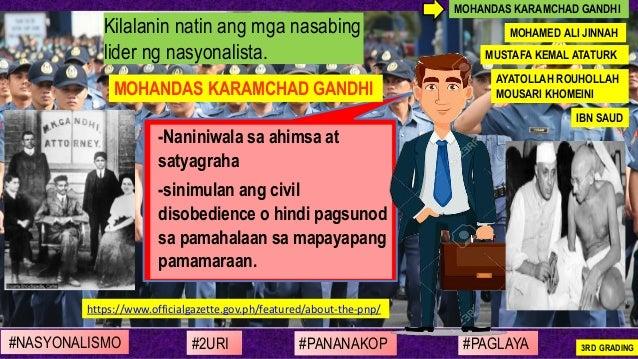 -Naniniwala sa ahimsa at satyagraha -sinimulan ang civil disobedience o hindi pagsunod sa pamahalaan sa mapayapang pamamar...