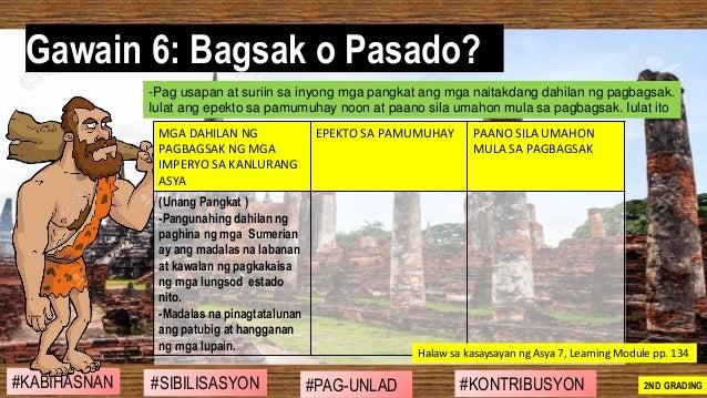 #SIBILISASYON #PAG-UNLAD #KONTRIBUSYON#KABIHASNAN 2ND GRADING Gawain 6: Bagsak o Pasado? -Pag usapan at suriin sa inyong m...
