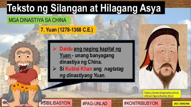 #SIBILISASYON #PAG-UNLAD #KONTRIBUSYON#KABIHASNAN 2ND GRADING ➢ Daidu ang naging kapital ng Yuan - unang banyagang dinasti...