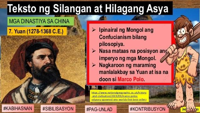 #SIBILISASYON #PAG-UNLAD #KONTRIBUSYON#KABIHASNAN 2ND GRADING ➢ Ipinairal ng Mongol ang Confucianism bilang pilosopiya. ➢ ...
