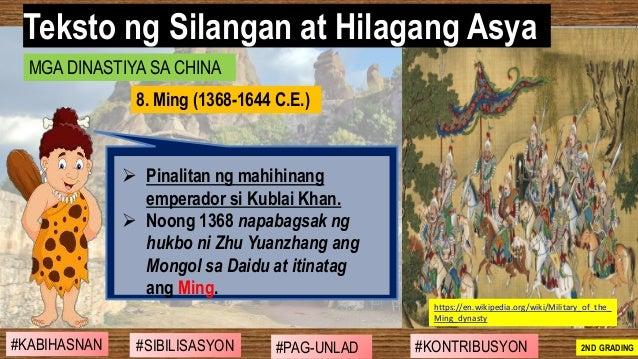 #SIBILISASYON #PAG-UNLAD #KONTRIBUSYON#KABIHASNAN 2ND GRADING ➢ Pinalitan ng mahihinang emperador si Kublai Khan. ➢ Noong ...